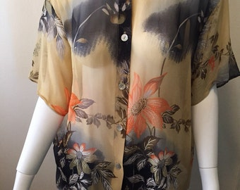 Spectacular Harari hand painted silk floral asian inspired blouse made in the USA