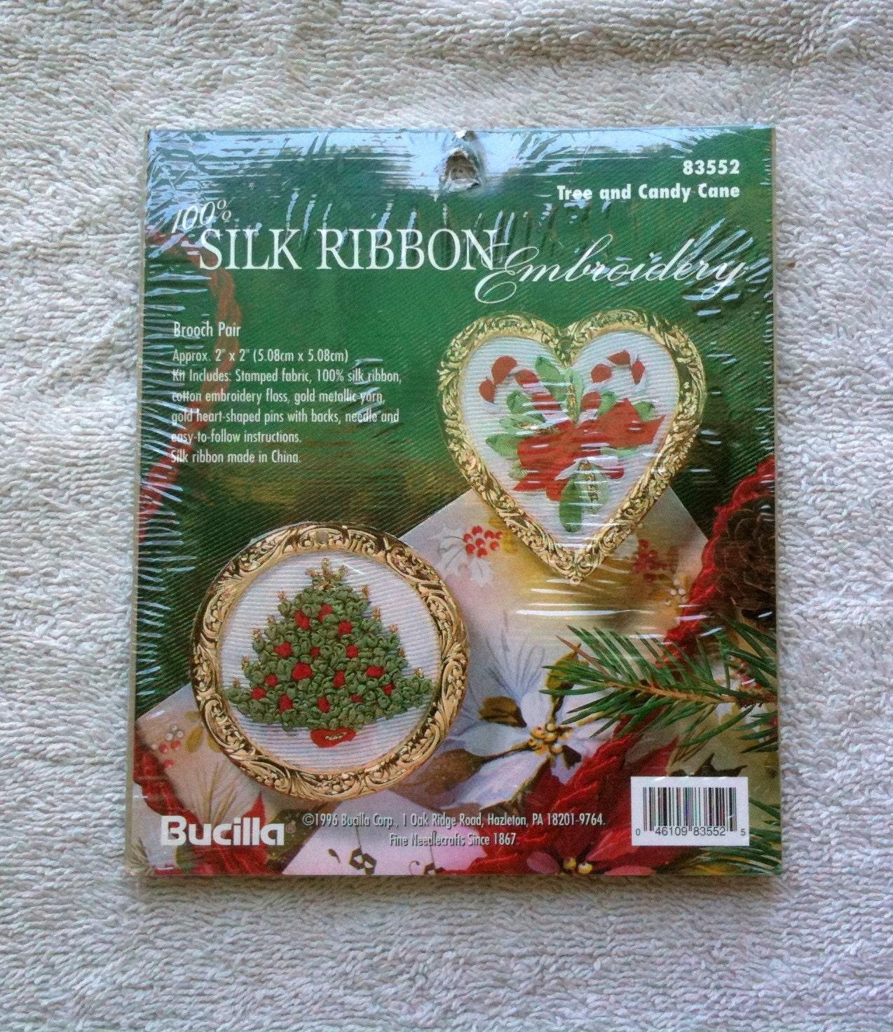 Bucilla silk ribbon embroidery kit christmas brooches