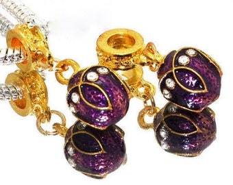1x Purple Dangle Faberge Bead - Large Hole - Fits European Bracelets and Necklaces