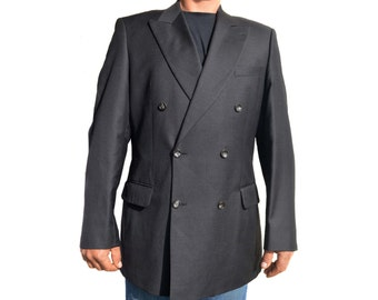Vintage Desch 1874 Jan Rozing man blazer jacket black Super 120s pure new wool