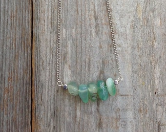 Moss agate stone necklace on silver chain