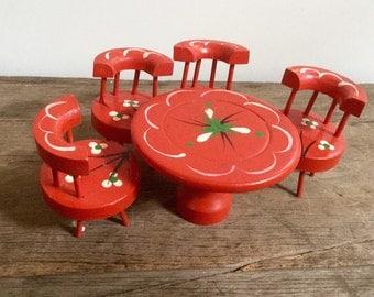 Vintage Red Tole Doll House Furniture Set
