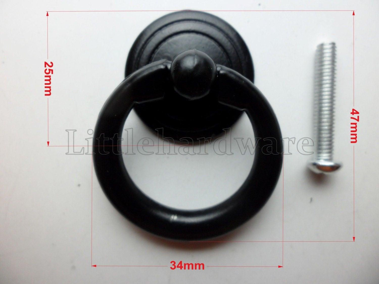 Black Metal 34mmX47mm Ring Pull / Vintage Drawer Pulls / Ring Pulls /  Cabinet Knob Pull Handles / Vintage Furniture Knobs Handle DP0161
