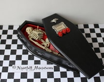 Dollhouse Miniature  Dracula Vampire Coffin with Decapitated Skeleton  in 1:12 scale