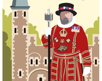 LONDON. Art print Travel/Railway Poster of London Beefeater outside the Tower of London. A4, A3, A2 in Retro, Art Deco style design