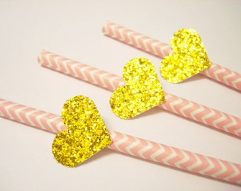 Set of 24Pcs - Pink Chevron Paper Straw with Gold Glitter Heart