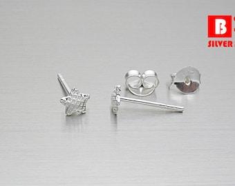 925 Sterling Silver Earrings , Star Earrings, Stud Earrings (Code : EC35)