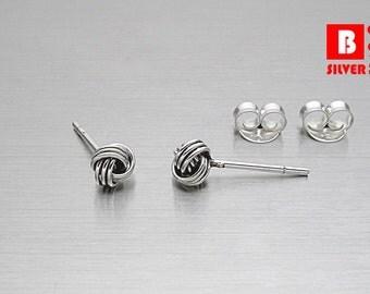 925 Sterling Silver Oxidized Earrings , Knot Earrings, Stud Earrings, Size 4 mm (Code : E36D)