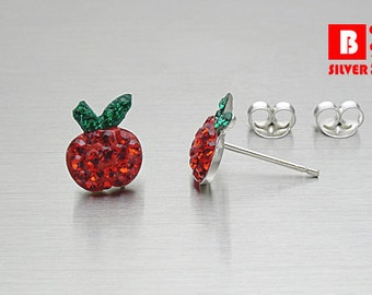 925 Sterling Silver Earrings, Apple Earrings, Red Crystal Earrings, Fruit Earrings, Stud Earrings (Code : EC13)