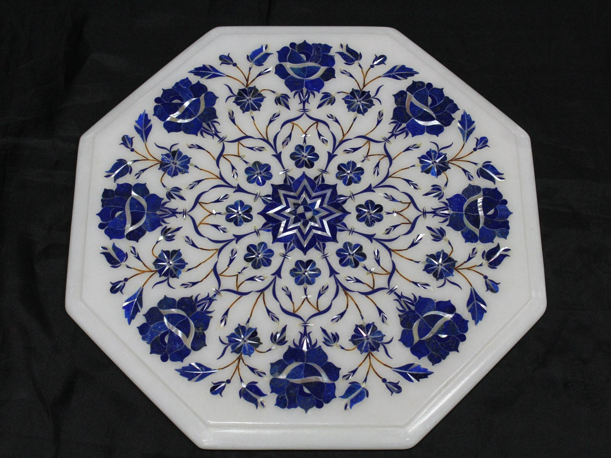 Marble Table Top Stone Inlay Coffee Table Hand Made Inlaid