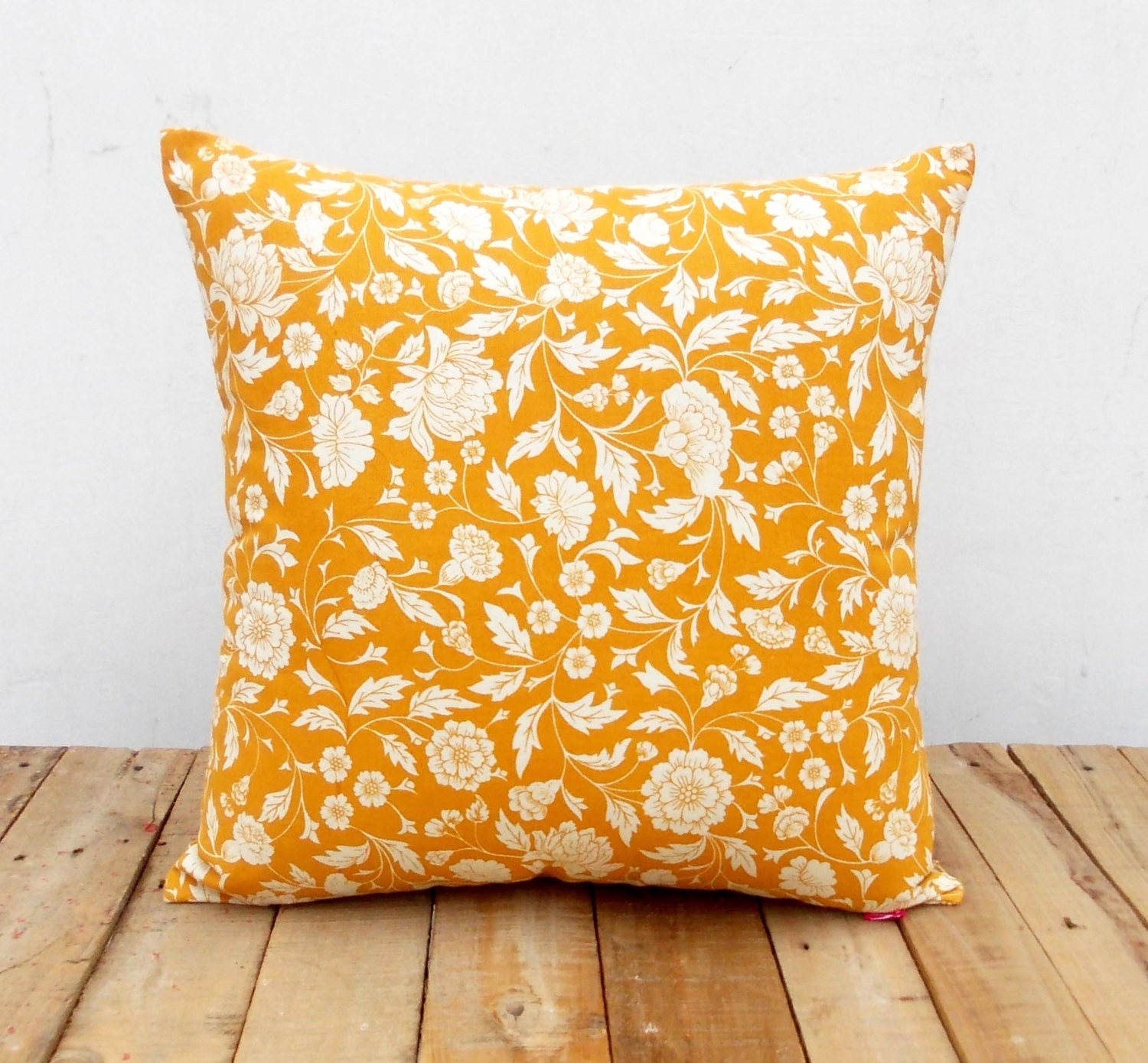 Throw Pillow Covers Yellow : Yellow ochre throw pillow cover Kalamkari print Indian