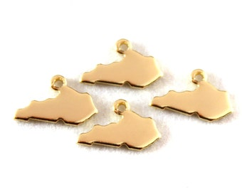 2x Gold Plated Blank Kentucky State Charms - M115-KY