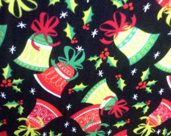 Bells Holly Fleece Throw Holiday Decor