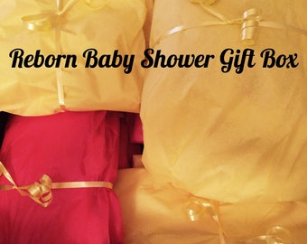 Reborn Doll Collector Item- Gold Package-Surprise Baby Shower Box- DOLL NOT INCLUDED