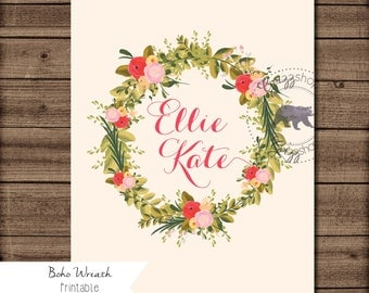 Boho Wreath Customized Print