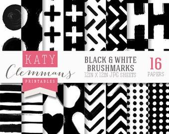 Black & White Brush marks digital paper pack. Modern, graphic monochrome patterns. Scrapbook printable sheets - instant download.