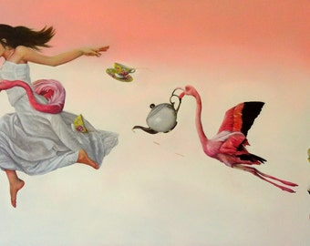 """Giclee Small Print of original painting """"Earl Grey with a Dash of Flamingo"""", woman in white dress with flamingo and tea set"""