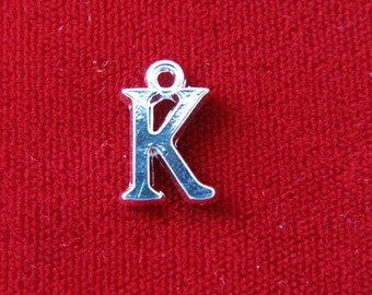 "BULK! 30pc ""K"" charms in silver style (BC692B)"