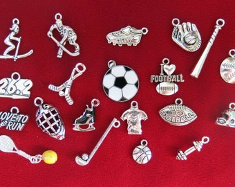 "SET! 20pc ""sports"" deluxe charms set in antique silver style (CS5)"