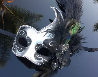 Fashionable Womens Venetian Masquerade Mask w/ Feathers, Flowers, Silver and Black Acrylic Glitter Work