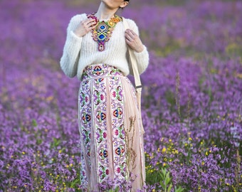 Pink embroidered skirt