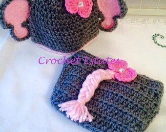 Elephant Beanie with matching Diaper cover in Newborn Size  ~ Great Photo Prop!