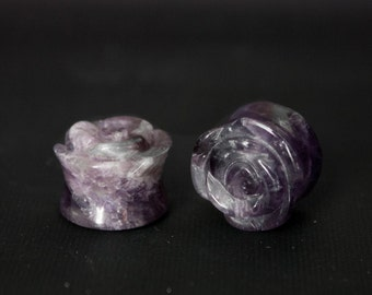 """BACK IN STOCK! Rose Carved Amethyst Stone Plugs 2g 0g 00g 1/2"""" (12mm) 9/16"""" (14mm) 5/8"""" (16mm)"""