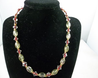 Yellow, Gold, Clear and Burgundy Beaded Necklace