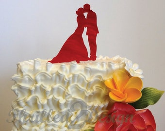 4 inch Bride Groom Silhouette CAKE TOPPER - wedding and/or anniversary