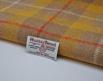 Harris Tweed Fabric - Yellow Orange Check