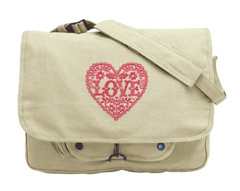 Love and Flowers Heart Embroidered Canvas Messenger Bag