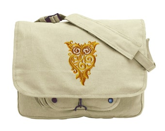 Owl Messenger Bag, Owl Canvas Bag, Ornate Owl Embroidered Canvas Messenger Bag