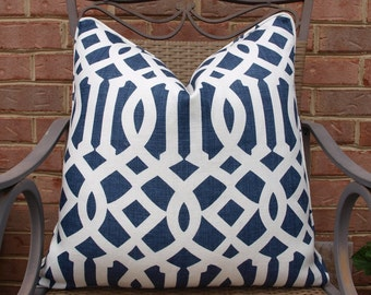 Both or One Side - ONE Schumacher Imperial Trellis II Navy and Ivory Pillow Cover with Seam Cording