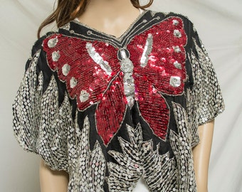 Sequin top, Butterfly Top, Silver, Red , Black, Royal Mohan's