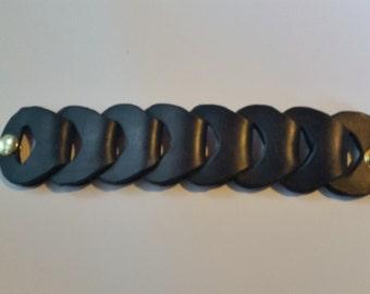 Black leather link bracelet