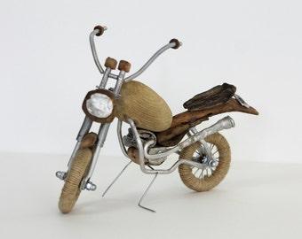 Sculpture motorcycle, driftwood