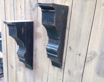 Distressed Black Corbel, Architectural Decor, Fireplace Mantle Corbel, Shelf Corbel