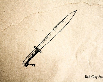 Vintage Knife Rubber Stamp - 2 x 2 inches