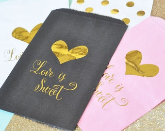 Love is Sweet Gold Foil BLACK Candy Lolly Buffet Wedding Engagement Bomboniere Favour Bags x 12