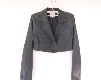 Vintage Grey Cropped Short Jacket Classic Cut Office Secretary Suit Formal Sissy-Boy Bolero Jacket Size Medium M