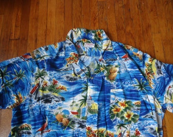 Vintage Early 60s Rayon Aloha Shirt