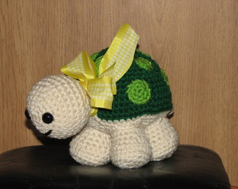 "Timmy the Turtle - 6"" tall Adorable Crocheted Stuffed Turtle"
