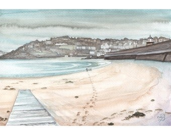 St Ives Harbour painting in watercolour, ORIGINAL watercolour painting, English harbour painting 02