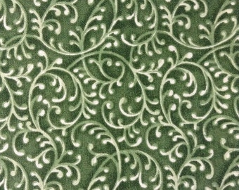 SALE - One Half Yard of Fabric Material - Green Vine Scroll