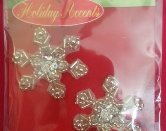"""Package contains, Two 1-1/2"""" Beaded Snowflakes - New"""