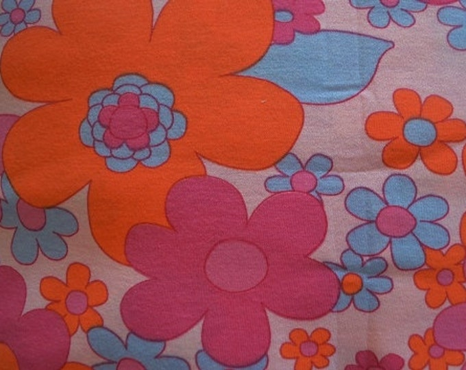 Large Floral Print Knit - Very Soft Cotton Knit Fabric