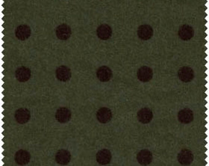 Maywood - FQ - Woolies - Brown Dots on Green Flannel