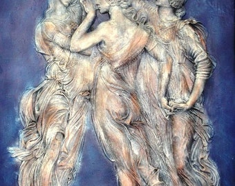 Three Graces Wall Relief Dancing Muse Wall Plaque