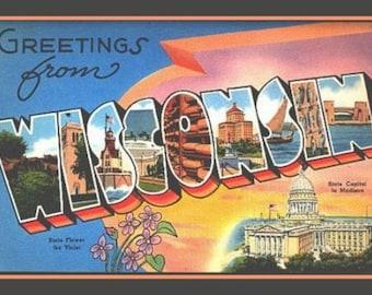 Wisconsin Fridge Magnet vintage Large Letter post card image,