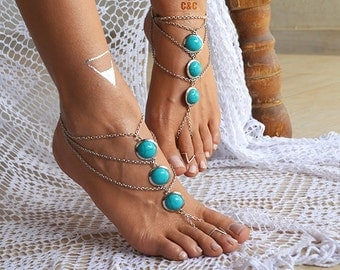 "Women Barefoot Sandals, wedding sandals ""Sea blue Gemstones"""